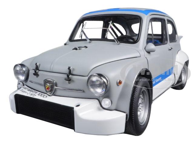Fiat Abarth 1000 TCR Matt Grey with Blue Stripes 1/18 Diecast Model Car AutoArt 72642
