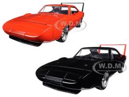 1969 Dodge Charger Daytona Black & Orange Set of 2 Cars 1/24 Diecast Model Cars Jada 97681-97682-SET