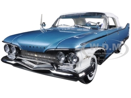 1960 Plymouth Fury Closed Convertible White/Twilight Blue Metallic Platimun Edition 1/18 Diecast Model Car Sunstar 5412