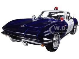 1965 Chevrolet Corvette Blue and White Police 1/18 Diecast Model Car Maisto 31381