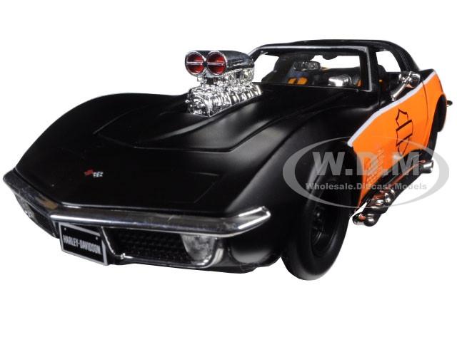 1970 Chevrolet Corvette Harley Davidson Black/Orange 1/24 Diecast Model Car Maisto 32193