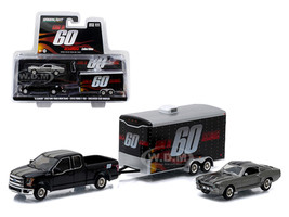 """2015 Ford F-150 Pickup Truck and 1967 Custom Ford Mustang """"Eleanor"""" with Enclosed Car Hauler Set """"Gone in 60 Seconds"""" Movie 1/64 Diecast Model Cars Greenlight 51008"""
