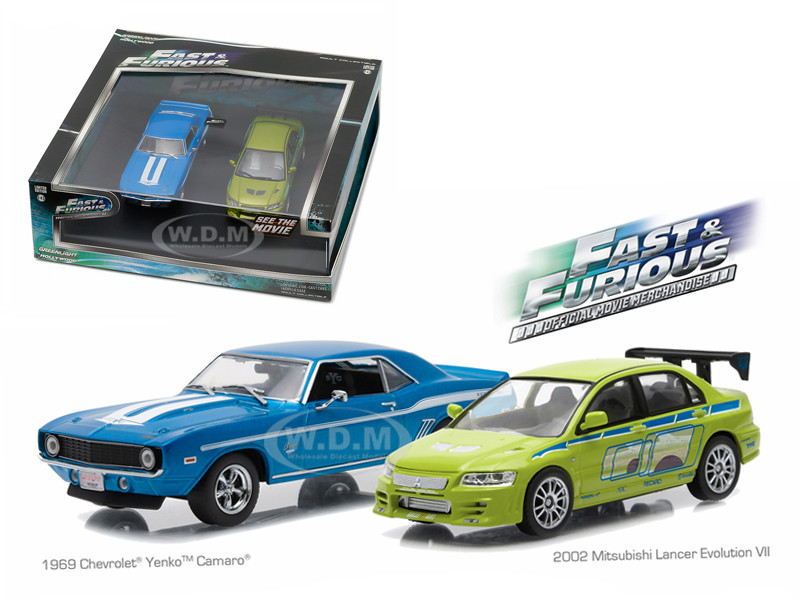 "1969 Chevrolet Yenko Camaro 2002 Mitsubishi Lancer Evolution VII Drag Scene ""2 Fast and 2 Furious"" Movie (2003) Diorama Set 1/43 Diecast Model Cars Greenlight 86253"