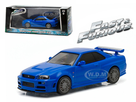 "Brian's 2002 Nissan Skyline GT-R Blue ""Fast and Furious"" Movie (2009) 1/43 Diecast Model Car Greenlight 86219"