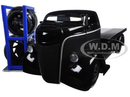 "1947 Ford COE Black Pickup Truck ""Just Trucks"" with Extra Wheels 1/24 Diecast Model Jada 97687"