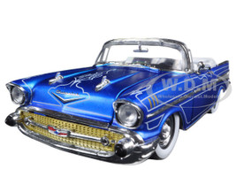 """1957 Chevrolet Bel Air Convertible Satin Blue with White """"Tom Kelly Special Edition"""" 1/24 Diecast Model Car M2 Machines 40300-51A"""