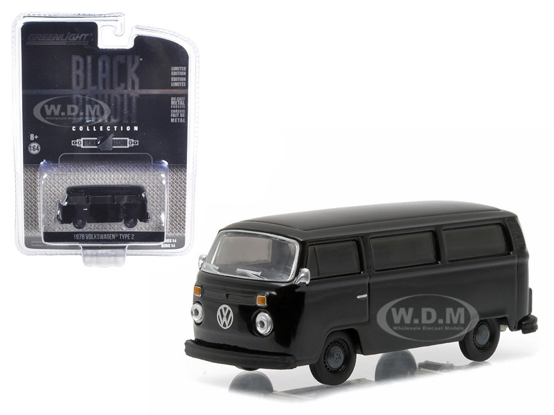 1978 Volkswagen Type 2 Bus Black Bandit 1/64 Diecast Model Car Greenlight 27840 C