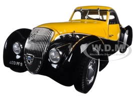 1937 Peugeot 302 Darl Mat Coupe Black and Yellow 1/18 Diecast Model Car Norev 184716