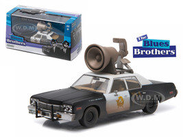 """1974 Dodge Monaco """"Bluesmobile"""" Blues Brothers Movie (1980) with Speaker on Roof 1/43 Diecast Model Car Greenlight 86423"""
