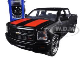 """2014 Chevrolet Silverado Pickup Truck Matt Black """"Just Trucks"""" with Extra Wheels 1/24 Diecast Model Jada 97690"""