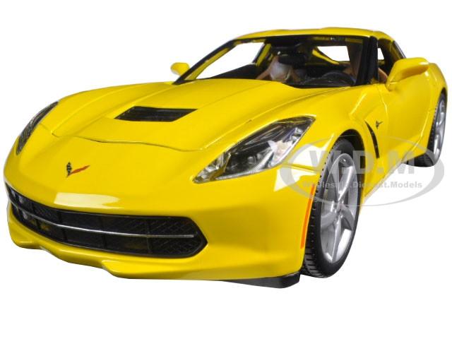 CHEVROLET CORVETTE STINGRAY 1:18 Scale Yellow Diecast Model Toy Car Miniature