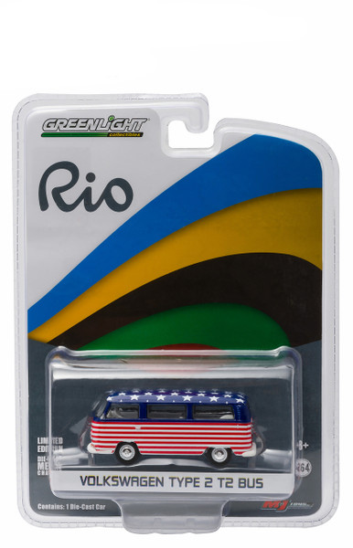 Rio Volkswagen Type 2 Bus Team USA 1/64 Diecast Model Car Greenlight 51037
