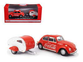 1967 Volkswagen Beetle Red Teardrop Travel Trailer Red White Coca-Cola 1/43 Diecast Model Car Motorcity Classics 440032