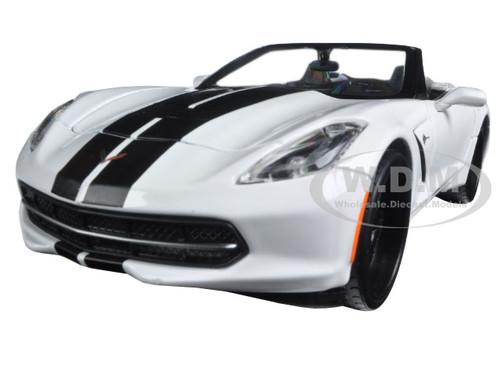 """2014 Chevrolet Corvette Stingray Convertible White """"Modern Muscle"""" 1/24 Diecast Model Car Maisto 32501"""