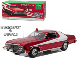 """1976 Ford Gran Torino """"Starsky and Hutch"""" Red Chrome Edition (TV Series 1975-79) 1/18 Diecast Model Car Greenlight 19023"""