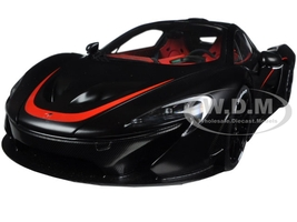 McLaren P1 Matt Black with Red Accents 1/18 Model Car Autoart 76027