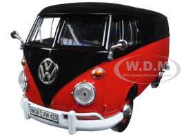 Volkswagen Type 2 (T1) Delivery Van Black and Red 1/24 Diecast Model Car Motormax 79342