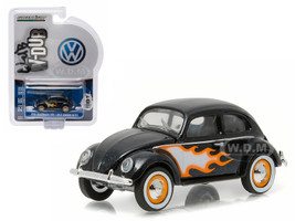 1949 Volkswagen Type 1 Split Window Beetle Black with Flames 1/64 Diecast Model Car Greenlight 29840 B
