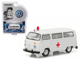 1975 Volkswagen Type 2 Bus (T2B) Ambulance with Roof light and Siren 1/64 Diecast Model Car Greenlight 29840 E