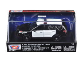 2015 Ford Police Interceptor Utility Plain Black and White Car In Display Showcase 1/43 Diecast Model Car Motormax 79478