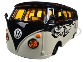 Volkswagen Van Samba Harley Davidson Black and Beige 1/25 Diecast Model Car Maisto 32192