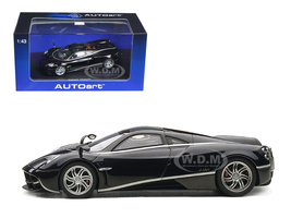 Pagani Huayra Black with Silver Stripes 1/43 Diecast Model Car Autoart 58209