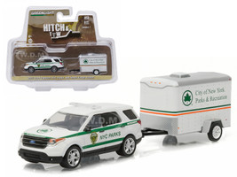 2015 Ford Explorer New York City Department of Parks and Recreation & Small Cargo Trailer Hitch & Tow Series 7 1/64 Diecast Car Model Greenlight 32070 D