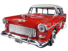 1955 Chevrolet Nomad Coca-Cola with 2 bottle cases and metal handcart 1/24 Diecast Model Car Motorcity Classics 424110