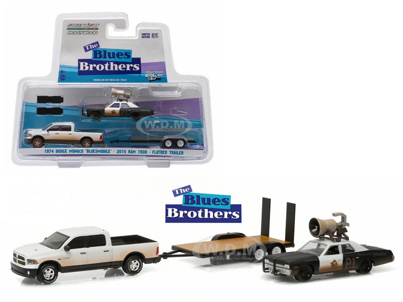 2015 RAM 1500 Pickup Truck 1974 Dodge Monaco Bluesmobile on Flatbed Trailer Blues Brothers Movie 1980 1/64 Diecast Model Cars Greenlight 31010 C