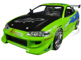 Brian's Mitsubishi Eclipse Green Fast Furious 2001 Movie 1/24 Diecast Model Car Jada 97603