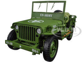 US Army WWII Jeep Vehicle Green 1/18 Diecast Model Car American Diorama 77404