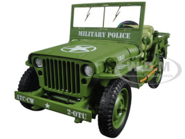US Army WWII Jeep Vehicle Military Police Green 1/18 Diecast Model Car American Diorama 77406