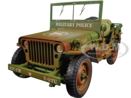 US Army WWII Vehicle Military Police Green Weathered Version 1/18 Diecast Model Car American Diorama 77406 A