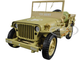 US Army WWII Jeep Vehicle Desert Color 1/18 Diecast Model Car American Diorama 77408