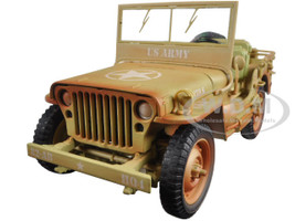 US Army WWII Jeep Vehicle Desert Color Weathered Version 1/18 Diecast Model Car American Diorama 77408 A