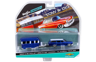 1962 Chevrolet Biscayne Wagon with Alameda Trailer Blue Tow & Go 1/64 Diecast Model Maisto 15368-A