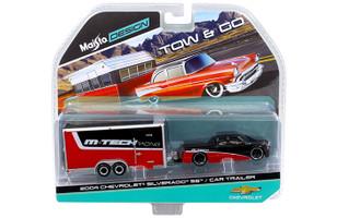 2004 Chevrolet Silverado SS with Car Trailer Red / Black Tow & Go 1/64 Diecast Model Maisto 15368-C
