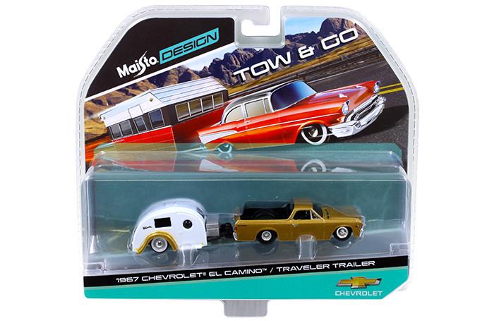 1967 Chevrolet El Camino with Traveler Trailer Gold Tow & Go 1/64 Diecast Model Maisto 15368-D