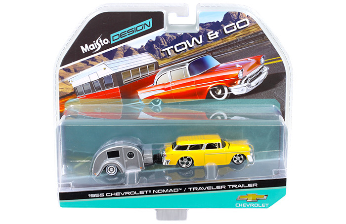1955 Chevrolet Nomad with Traveler Trailer Yellow Tow & Go 1/64 Diecast Model Maisto 15368-E