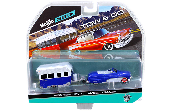 1950 Mercury with Alameda Trailer Blue / White Tow & Go 1/64 Diecast Model Maisto 15368-G