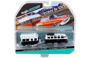 "Volkswagen Van ""Samba"" with Alameda Trailer Black / White Tow & Go 1/64 Diecast Model Maisto 15368-H"