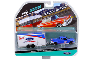 2004 Ford F-150 Pickup Truck #15 Blue and Car Trailer Tow & Go 1/64 Diecast Model Maisto 15368-J