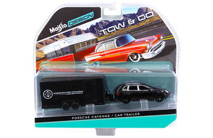 Porsche Cayenne Black and Car Trailer Tow & Go 1/64 Diecast Model Maisto 15368-L