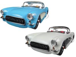 1957 Chevrolet Corvette Blue & Cream Set of 2 Cars 1/24 Diecast Model Cars Jada 98161 98162