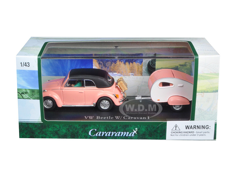 Volkswagen Beetle Pink with Caravan I Trailer and Display Case 1/43 Diecast Car Model Cararama 14706