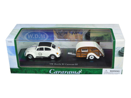 Volkswagen Beetle #53 with Caravan III Trailer in Display Case 1/43 Diecast Model Car Cararama 14811