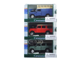 Land Rover 109 Series III 3pc Set Red,Blue,Green 1/43 Diecast Model Cars Cararama 25100