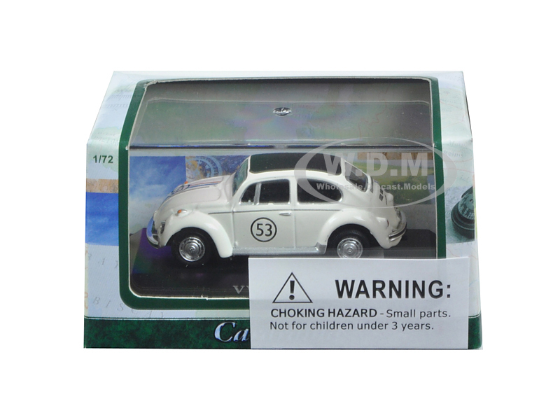 Volkswagen Beetle #53 White Display Case 1/72 Diecast Model Car Cararama 71470
