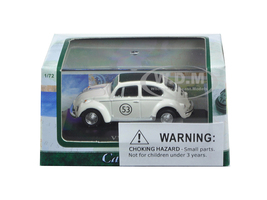 Volkswagen Beetle #53 White Display Case 1/72 Diecast Model Car Cararama 71470
