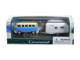 Volkswagen Bus Samba Blue with Caravan II Trailer in Display Showcase 1/72 Diecast Car Model by Cararama 12812